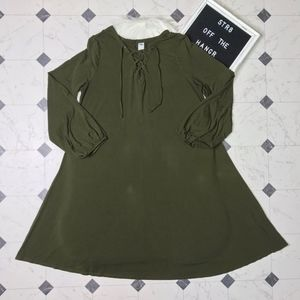 Old Navy green a-line lace up dress size Large